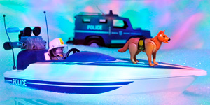 Полицейский катер и машина.  Новые видео для детей.  Распаковка игрушек для мальчиков.